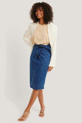 NA-KD Trend NA-KD Trend Belted Midi Denim Skirt - Blue