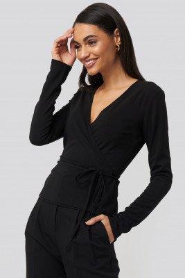 NA-KD NA-KD Wrap Over Long Sleeve Top - Black