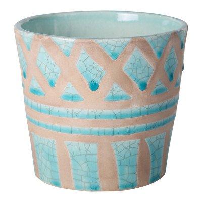 Ptmd ziza terracotta pot geglazuurd blauw rond m