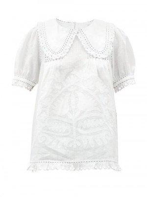 Matchesfashion Vita Kin - Shalimar Floral-appliqué Linen Blouse - Womens - White
