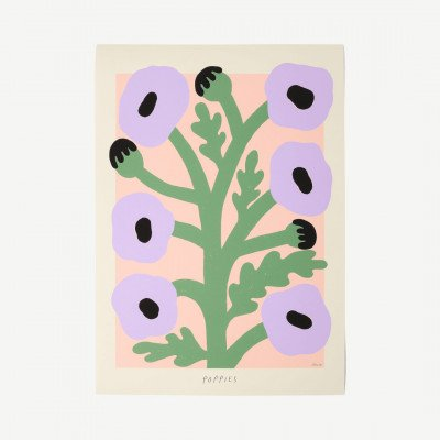 MADE.COM The Poster Club, Purple Poppies, print door Madelen Moellard, 50 x 70 cm