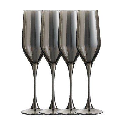 Xenos Champagneglazen grijs - 16 cl - set van 4