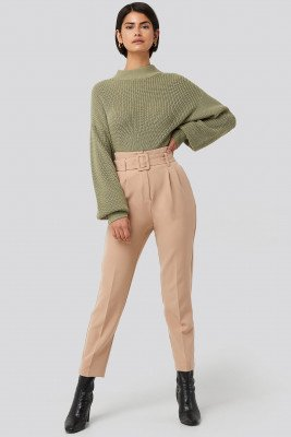 NA-KD Classic NA-KD Classic Belted Suit Pants - Beige