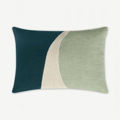 MADE.COM Favreau Linen Blend Cushion, 35x50cm, Teal and Grey