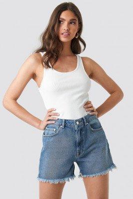NA-KD High Waist Raw Hem Denim Shorts - Blue