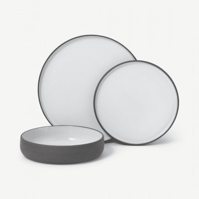 MADE.COM Juni 12-delig serviesset van natuurlijke klei, donkergrijs en wit