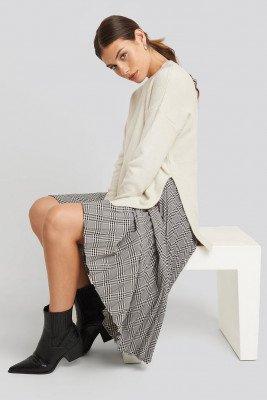 NA-KD NA-KD Round Neck Side Split Sweater - Beige