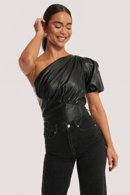 NA-KD Party NA-KD Party One-Shoulder Pu-Top - Black