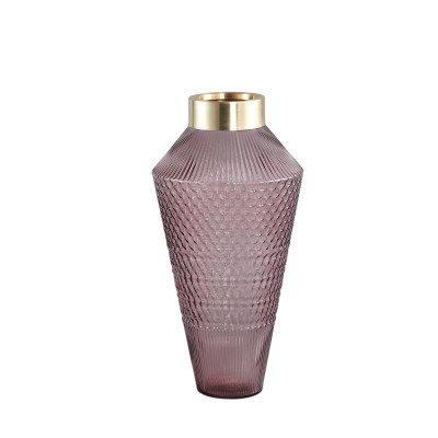 Ptmd siv roze glazen vaas met patroon rond m
