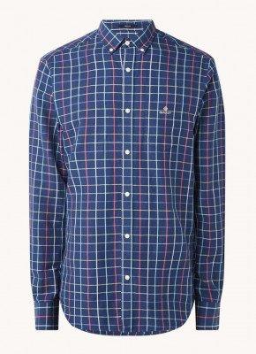 Gant Gant Regular fit overhemd in linnenblend met ruitdessin