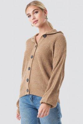 NA-KD Trend NA-KD Trend Hood Knitted Sweater - Brown,Beige