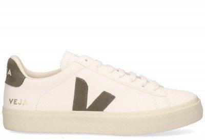 VEJA VEJA Campo Chromefree Leather Wit/Khaki Damessneakers