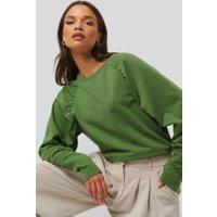 NA-KD Oversized Raglan Sleeve Detailed Sweater - Green