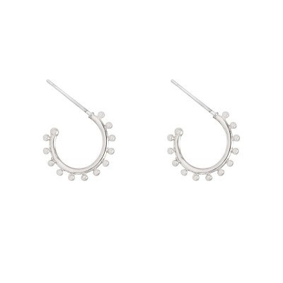 STUDDED HOOP EARRINGS SILVER
