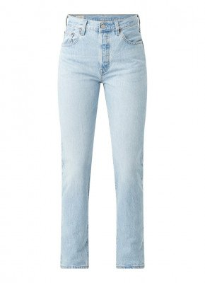 Levi's Levi's 501 high waist straight fit cropped jeans met lichte wassing
