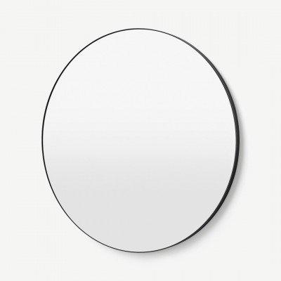 MADE.COM Arles ronde wandspiegel, extra groot, 100 cm, matzwart