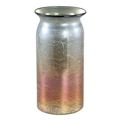 Ptmd diza gemengde kleuren glazen vaas rond s