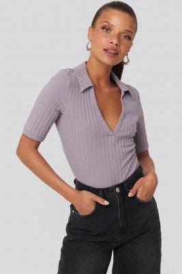 NA-KD NA-KD Ribbed Pique Collar Top - Purple