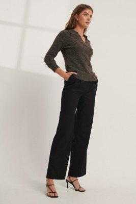 Mathilde Gøhler x NA-KD Pantalon Met Plooidetail - Black