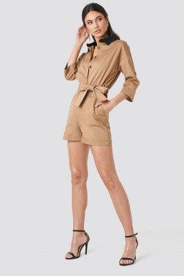 Trendyol Waist Pleated Jumpsuit - Beige