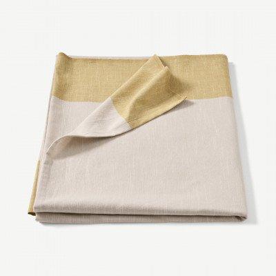 MADE.COM Soedahl Colour Block tafelkleed van 100% katoen, 140 x 220 cm, goud