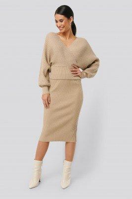 NA-KD NA-KD Glittery Ribbed Knitted Skirt - Beige