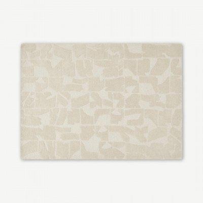 MADE.COM Rudzi handgetuft vloerkleed van wol, Large 160 x 230cm, zacht taupe