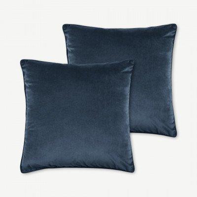 MADE.COM 2 x Julius kussens, 45 x 45 cm, inktblauw fluweel