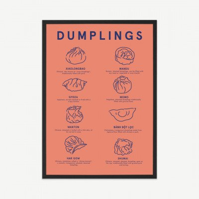 MADE.COM Violet Studio, 'Dumpling Menu', ingelijste print, A2