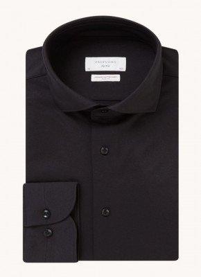 Profuomo Profuomo Japanese knitted slim fit overhemd met cut away kraag