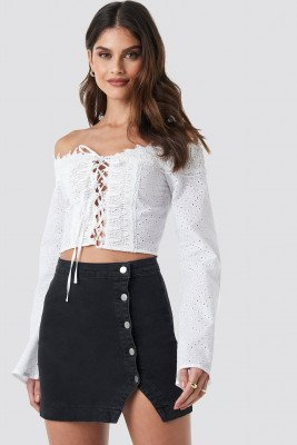 Donnaromina x NA-KD Donnaromina x NA-KD Side Button Denim Skirt - Black