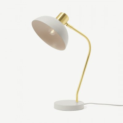 MADE.COM Cheston tafellamp, grijs en messing