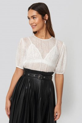 NA-KD Trend NA-KD Trend Structured Rose Puff Blouse - White