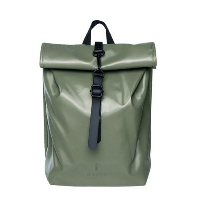 Rains Rains Roll Top Mini Backpack Shiny Olive