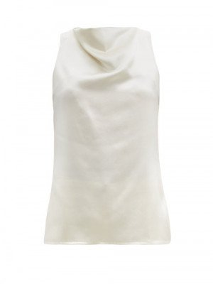 Matchesfashion La Collection - Pheadra Cowl-neck Silk-satin Blouse - Womens - White
