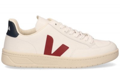 VEJA V-12 Leather Wit/Rood/Blauw Herensneakers