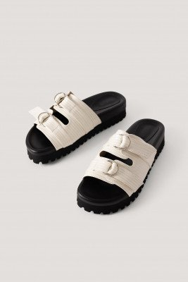 NA-KD Shoes Chunky Dubbele Gesp Sandalen - Offwhite