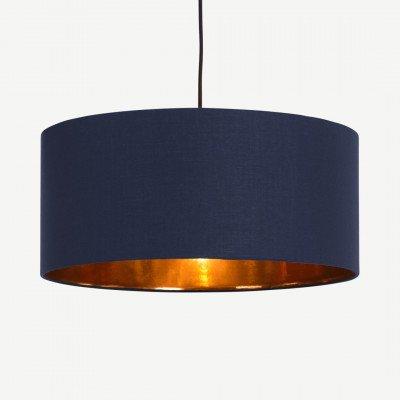 MADE.COM Oro hanglampenkap, donkerblauw en koper
