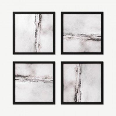 MADE.COM Dan Hobday, 'Soft Abstract', set van 4 ingelijste prints, 40 x 40 cm