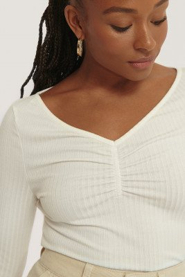 NA-KD Front Ruched Ribbed Top - White
