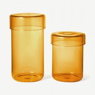 MADE.COM Huebsch set van 2 glazen voorraadpotten, amber