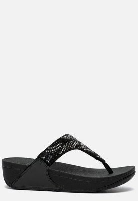 FitFlop FitFlop Lulu Crystal feather Toe Post slippers zwart