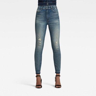 G-Star RAW Kafey Ultra High Skinny Ripped Edge Ankle Jeans - Lichtblauw - Dames