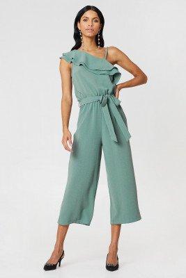 Rut&Circle Ofelia One Shoulder Jumpsuit - Green