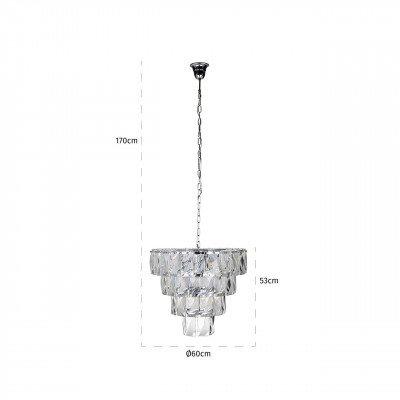 Richmond Interiors Richmond Hanglamp 'Wyne', Glas, kleur Zilver