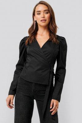 NA-KD NA-KD Wrap Over Long Sleeve Blouse - Black