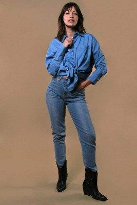 Kuyichi Mia Tencel Shirt Light Blue - Light Blue - L