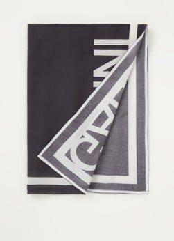 Ganni Ganni Sjaal met bloemenprint en logo 85 x 85 cm