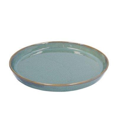DilleenKamille Bord reactieve glazuur, steengoed, groen,Ø 20,5 cm