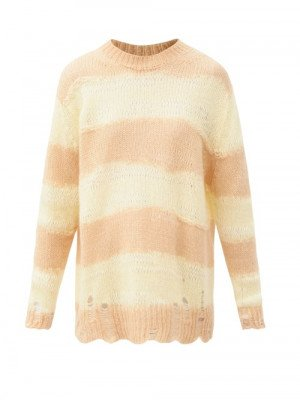 Matchesfashion Acne Studios - Kalia Oversized Striped Knitted Sweater - Womens - Light Yellow